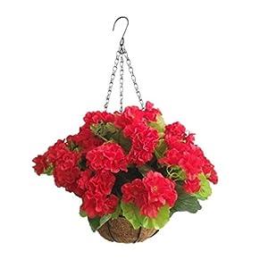 Silk Flower Arrangements Bo Lala Silk Flowers Chain Hanging Basket Artificial Begonia Flower Red (9.85 inch)