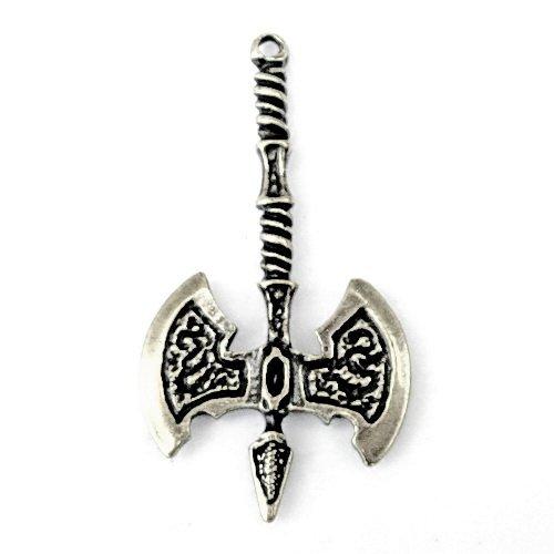 Axt-Amulett mit dem Motiv einer Streitaxt aus dem Mittelalter aus massivem Guss Farbe silberfarben
