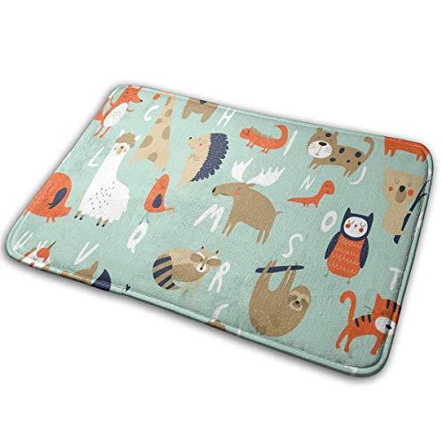 Sesily Zoo - Alfombra antideslizante para dormitorio, diseño de alfabeto de animales con motivos rectangulares, 40 x 60 cm
