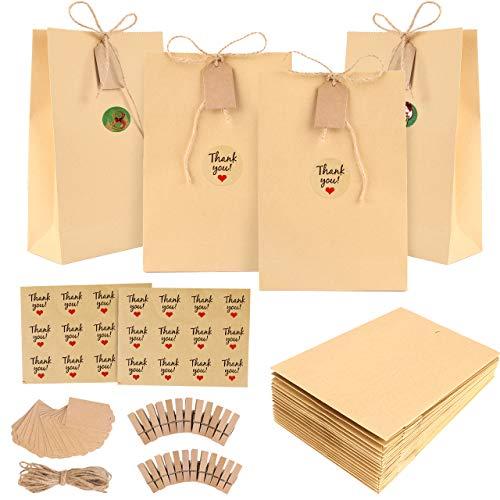 Bolsas de regalo navidad, GIKPAL Bolsas de Regalo de Papel con 48 Pegatinas para Bodas, Cumpleaños o Fiestas de Navidad, Dulces Papel para Envolver los Favores (Amarillo oscuro, 22 * 13 * 6)