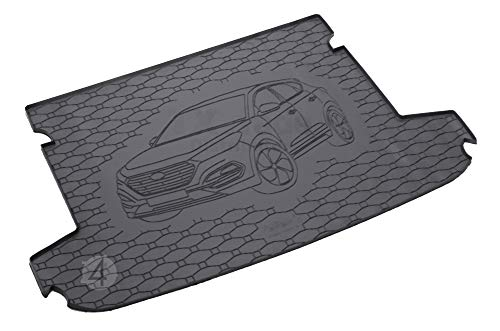 Passgenau Kofferraumwanne geeignet für Hyundai Tucson ab 2015 ideal angepasst schwarz Kofferraummatte + Gurtschoner