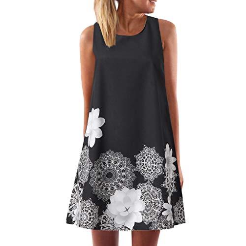 MAYOGO Sommerkleider Damen Casual Ärmellos T-Shirt Kleid Kurzen Blumenkleid Bedrucktes Strandkleider Sommer Minikleid
