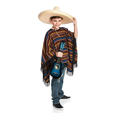 Kostümplanet® Poncho Mexikaner Kostüm Kinder Faschingskostüm Größe 164