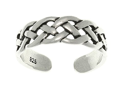 Jewelry Trends Open Celtic Weave Knot Sterling Silver Toe Ring Adjustable-Size
