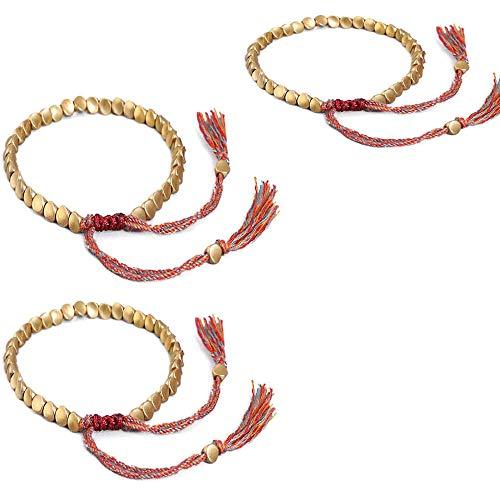 Pulsera tibetana hecha a mano, tibetana budista hecha a mano con cuentas de cobre, pulsera de borla de la suerte para mujeres y hombres (3 unidades)