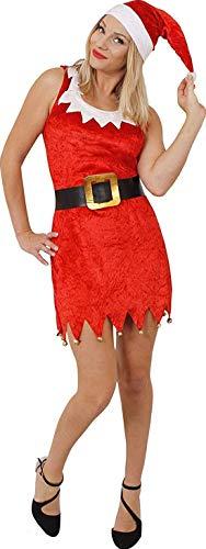 Déguisement sexy de la mère Noël avec sa robe courte rouge sensation velour et ses petites clochettes en bas + un bonnet rouge à pompon blanc + une ceinture noir avec une boucle couleur or. ( Xlarge )