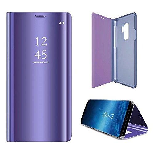 2ndSpring Coque pour Samsung Galaxy S9,Flip Miroir Coque Dur PC Plastique Housse Plating Case Transparente Standing View Cover Etui pour Galaxy S9,Violet
