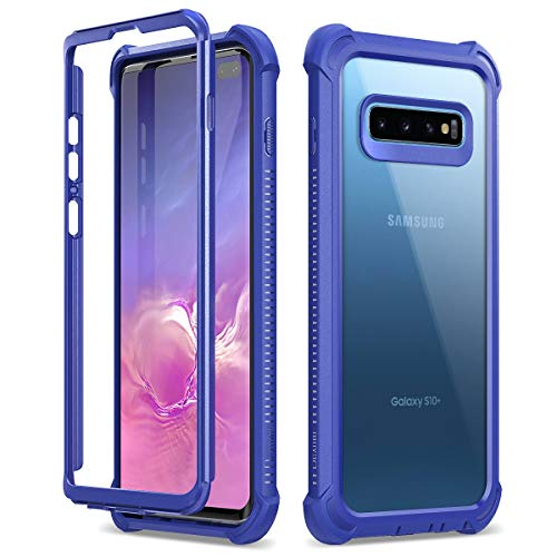 Dexnor Galaxy S10 Plus Case Clear Rugged Protective Shockproof Hard Back Cover and Thickened Rubber in Corners Heavy Duty Bumper Defender Case for Samsung Galaxy S10 Plus Dark Blue
