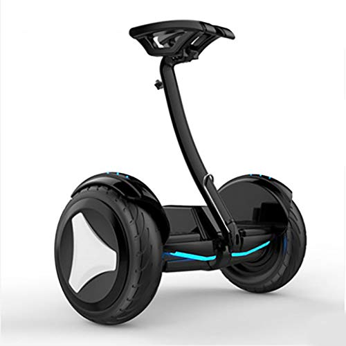 Hoverboard Scooter Elettrico con Bluetooth LED Flash Asta della Gamba e Asta della Mano Controllabile Tramite App Adatto a Bambini e Adulti,Black,36v