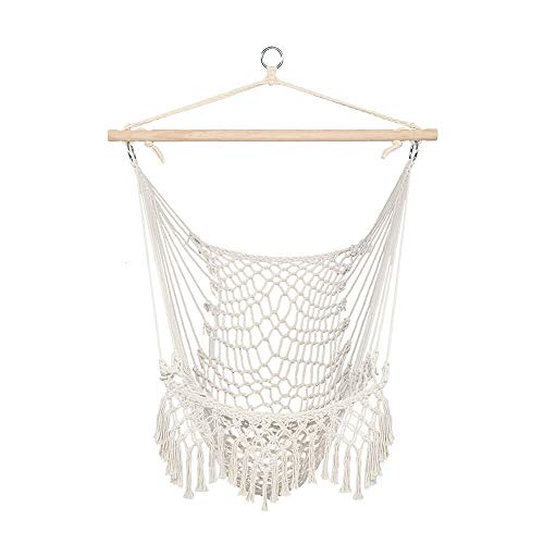 BAOLIANG Hammock Chair Cotton Hanging Chair Rope Weaving Chair,Hardwood Spreader Seat, Tassel Lace Swing Chair, for Indoor Outdoor Bedroom Garden Yard