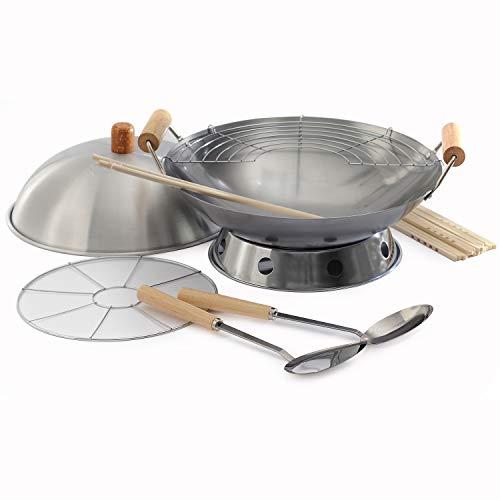 10-Piece Wok Set, Silver, 14 inch