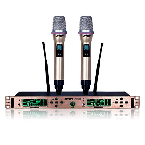 UHF Handheld Wireless Microphone System – ATNY ATX3000 Dual Channel with LCD Display and 2 Mics, Includes Noise-Lock Technology and 5-Second Auto-Off Function (UHF Dual Channel, Rose Gold)