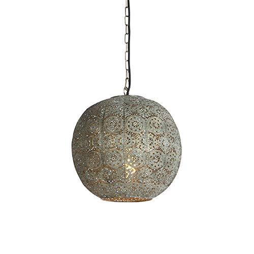 QAZQA Klassisch/Antik/Orientalisch Orientalische Hängelampe 32 cm - Baloo/Innenbeleuchtung/Wohnzimmerlampe/Schlafzimmer/Küche Stahl Kugel/Kugelförmig LED geeignet E27 Max. 1 x 40 Watt