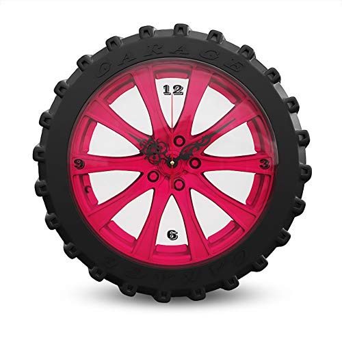 16 Inch Grote wandklokken, Personality Tire Decoratieve Klokken, Indoor Mute Industrieel Hangende klok for Indoor, Living Room Bar Cafe