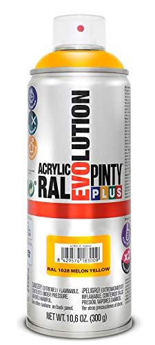 PINTYPLUS EVOLUTION 591 Pintura Spray Acrílica Brillo 520cc Melon Yellow, Amarillo Ral 1028, 0.6