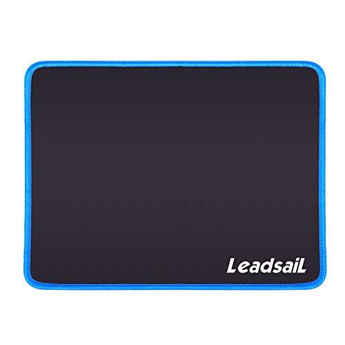 LeadsaiL Gaming Mauspad 27*21*0.3cm-Vernähte Kanten, Mousepad mit Einer speziellen Oberfläche Verbessert Geschwindigkeit und Präzision, Rutschfest Gummierte Unterseite Waschbar Verschleißfest (Blau)