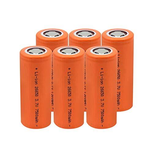 HTRN Batería De Litio De Iones De Litio De 3.7v 26650 7500mah, Recargable para La Batería De Los Faros De La Linterna 6pcs