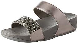 Silver Pewter 054 Sparklie Crystal Slide Sandal