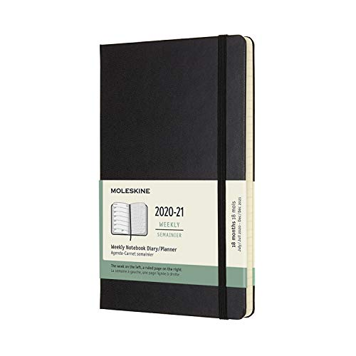 Moleskine - Agenda Settimanale 18 Mesi, Agenda Settimanale 2020/2021, Weekly Notebook con Copertina Rigida e Chiusura ad Elastico, Formato LARGE 13 x 21 cm, Colore Nero, 208 Pagine