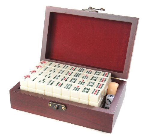 Quantum Abacus Mahjong / Majiang Set, pedine Bianche di Imitazione di Avorio, in Cassetta Elegante di Legno (17cm x 11cm x 6cm) (MJ001-01)