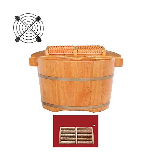 ZUOANCHEN Voet Tub/Bad/Soaking wastafel, Spa Emmer Met Stereofonisch Handvat En Verwijderbare Massage Kralen Voor Massage Voet Basin Het Kan Beweeg Wiel, Eiken Hout Voet Bowl Covered