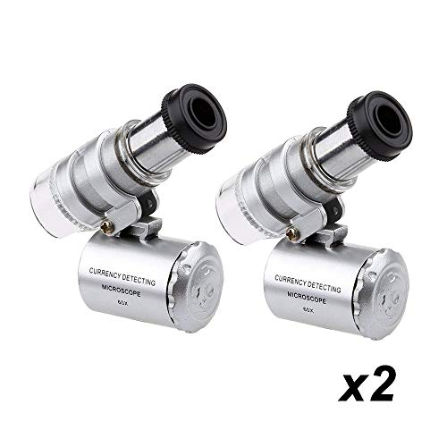 Optimal Shop Mini 60X Microscope Magnifying,Portable Mini Pocket LED UV Light Microscope Magnifier for Gems,Jewelry,Coins,Stamps,etc (2 Pack)