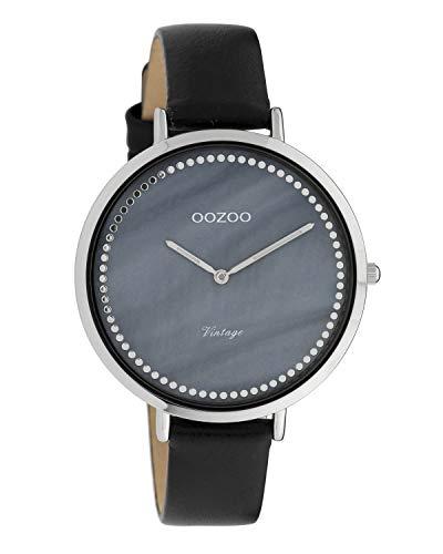 Oozoo Vintage Damenuhr Lederband 40 MM Perlmutt Blau/Schwarz C9853