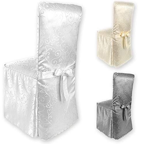Gräfenstayn® Stuhlhusse Sofia mit Jacquard Muster und eingearbeiteter Schleife runde und eckige Stuhllehnen Universal-Passform (Weiß)