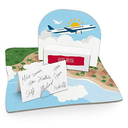 itenga Flugzeug Geldgeschenk Gastgeschenk Verpackung Reisekasse mit Bodenplatte, Geschenkkarte und Stickerbogen