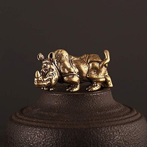 Ybzx Adornos Colgantes de Rinoceronte Macizo de latón Retro Estatua de Toro Animal de Bronce Antiguo Hombres Llavero de Coche Anillos Decoraciones de Escritorio Regalos