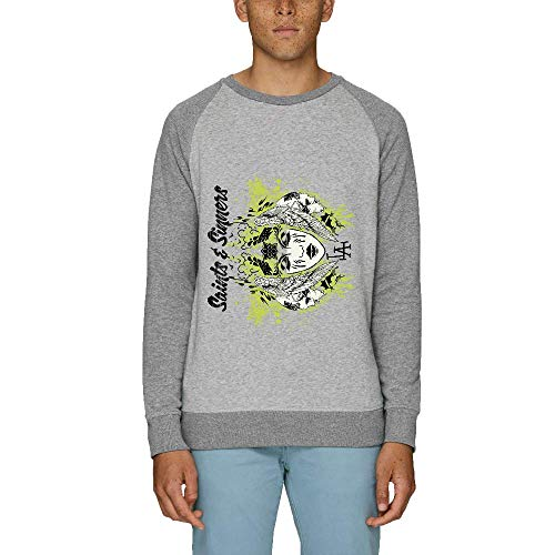 LookMyKase Sweat - Manche Longue - Col Rond - Saints and Sinners - Homme - Gris - XX-Large