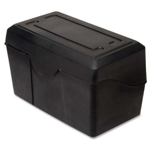 "Advantus 45002 Index Card Box, Plastic, 4"" x 6"" Size, 4.5"" Height, 4.5"" Width, 8.5"" Length, Black"