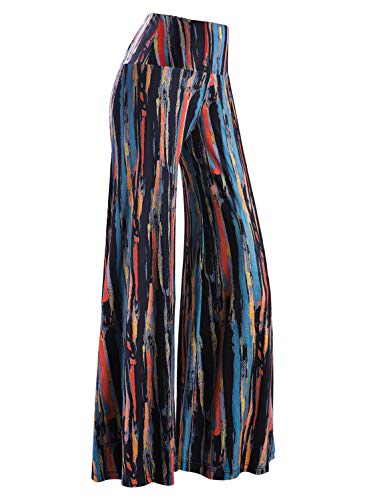 Arolina Women's Stretchy Wide Leg Palazzo Lounge Pants (Large, Floral 10)