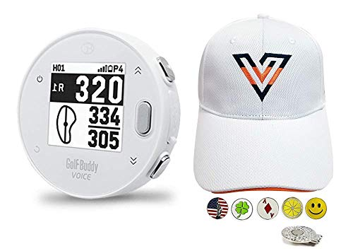 GolfBuddy Voice X Golf GPS/Rangefinder Bundle with 1 Volvik V-Logo Golf Hat (Adjustable), 5 Ball Markers and 1 Hat Clip - Bluetooth Wireless Talking GPS