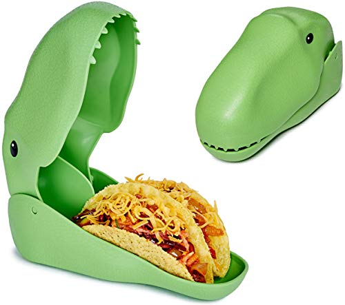 Dinosaur Taco Holder - Dino Taco Shell Holders for Kids - Fun Stand Up Plate to Hold 2 Tacos - Easy to Fill and Serve - BPA-free & Dishwasher Safe - Green