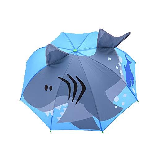 YGMDSL Regenschirm für Kinder 3D Hai Karikatur Dreidimensionale Modellierung 12 Knochen Langen Griff