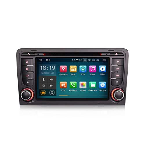 ERISIN 7 Zoll Android 10.0 Autoradio für Audi A3 S3 RS3 RESE-PU Multimedia Player mit GPS-Navi Unterstützt Carplay Android Auto Bluetooth A2DP WiFi 4G DAB + RDS Mirror- Link TPMS GB RAM + 16GB ROM