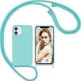 Nupcknn Funda Silicona con Cuerda para iPhone 12/iPhone 12 Pro y Protector Pantalla, Carcasa Suave...