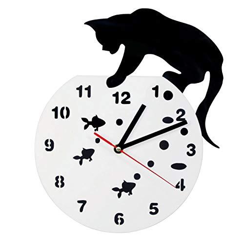 hufeng Reloj de Pared Gato en una pecera Arte de Pared Adorable Reloj de Pared Gato y pez Decoración del hogar Hunter Kitty Cat Reloj de Pared Moderno Gato Amantes de Las Mascotas Regalo