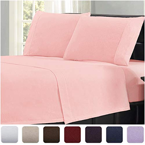 Mellanni 100% Cotton Flannel Sheet Set - Lightweight 4 pc Luxury Bed Sheets - Cozy, Soft, Warm, Breathable Bedding - Deep Pockets - All Around Elastic (Queen, Pink)