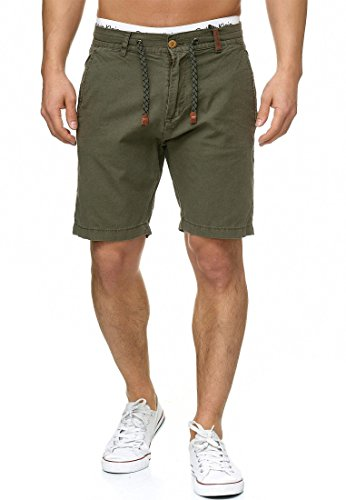 Indicode Herren Bowmanville Shorts aus 55% Leinen & 45% Baumwolle | Kurze Regular Fit Hose Leinen-Shorts Sommerhose Herrenshorts Short Men Pants Freizeithose kurz für Männer Army M