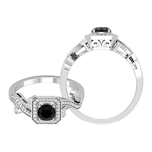 Anillo de compromiso antiguo de diamantes blancos y negros de 3/4 quilates para mujer con halo y milgranos (diamante negro de talla redonda de 5 mm), 14K Oro blanco, DIAMANTE NEGRO REDONDO, Size:EU 60