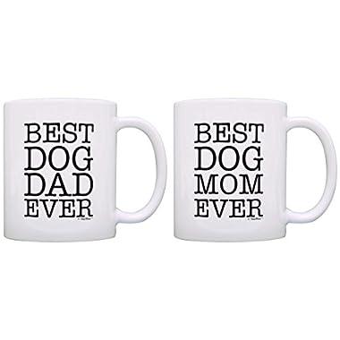 Dog Lover Gift Best Dog Mom Dad Ever Dog Owner Gift Bundle 2 Pack Gift Coffee Mugs Tea Cups White