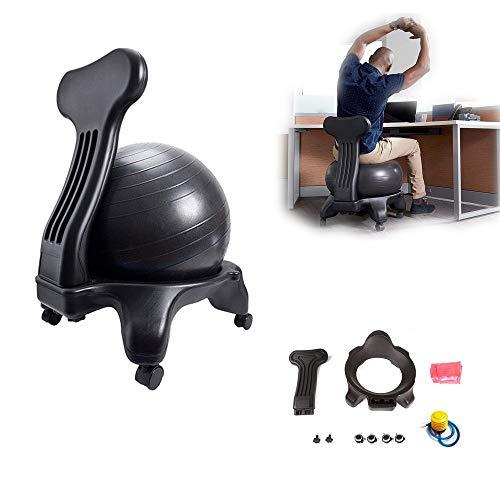 BODODO Balance Ballstuhl/Ballstuhl/Fitness Ball Stuhl, mit Rollen Robuster Sitzball, mit Yoga-Ball, für Zuhause und Büro Schreibtisch, für einen gesunden Rücken Chair Büro und Zuhause