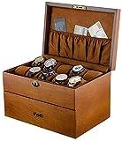 Caja de reloj de doble capa de madera con colección de cerraduras y visualización del gabinete, caja de reloj para almacenamiento y visualización