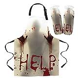 QAZQAZ Delantal Chefs Cocina Halloween Horror Blood Delantal Cuff Woman Kid Baberos Cocina en casa Hornear Cafetería Limpieza Accesorios de Cocina-Apron_Cuff_Set_L