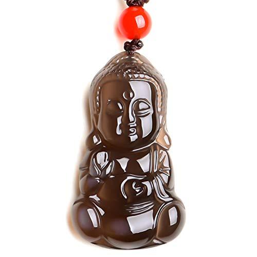ZDZDQQ Colgante De Obsidiana, Collar con Colgante De Buda, Tallado A Mano, Collar De Bodhisattva, Cadena De Cuerda De Buda Riendo, Amuleto, Talismán, Joyería Religiosa, Regalo, Decoración Feng Shui