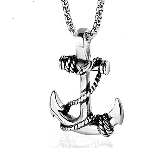 NC110 Marine Wind Stainless Steel Rope Anchor Necklace Fashion Men and Women Titanium Steel Boat Anchor Pendant Accessories YUAHJIGE
