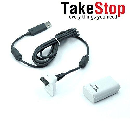 takestop® Batteria e Cavo di Ricarica per Controller Xbox 360 Bianco Kit 4800mha