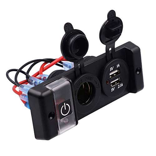 Schakelaar voor de elektrische hoofdvensterschakelaar, paneelschakelaar, schakellader met dubbele USB-poort voor sigarettenaansteker, voltmeter, interrupter, autoboot, ronde wipschakelaar aan/uit-schakelaar (1 stuks).